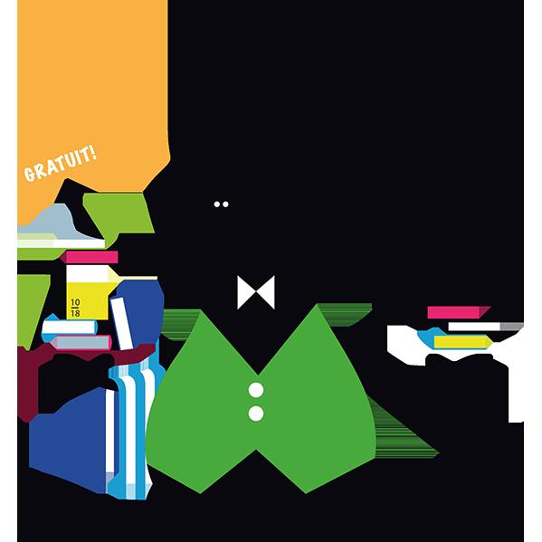 lapin serveur avec plateau de livres